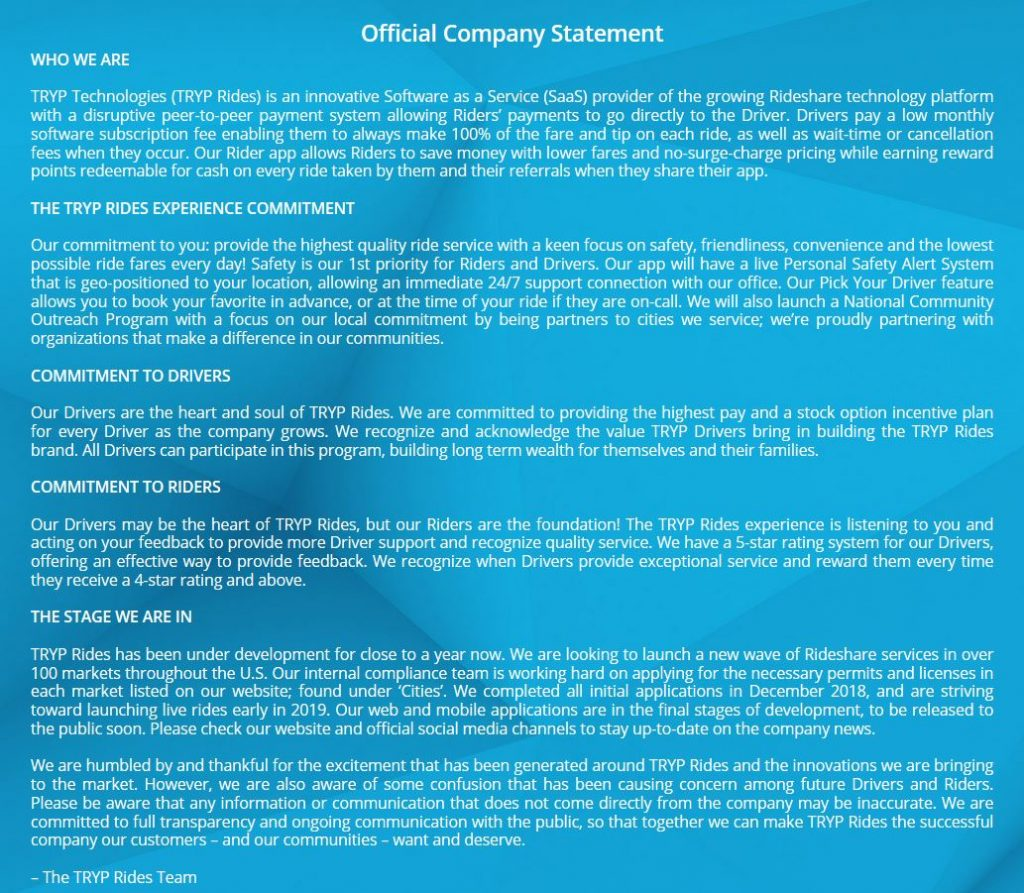 TRYP Official Company Statement